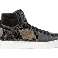 Yves Saint Laurent Snake Print Patent Leather High Top Sneakers