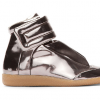 Maison Martin Margiela Metallic Pewter Leather Padded Sneakers