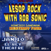 Win Free Tickets To See Aesop Rock with Rob Sonic + Homeboy Sandman In Los Angeles – January 9, 2015